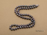 6.5-7mm Round Black Freshwater Pearl Necklace with Sterling Silver Clasp