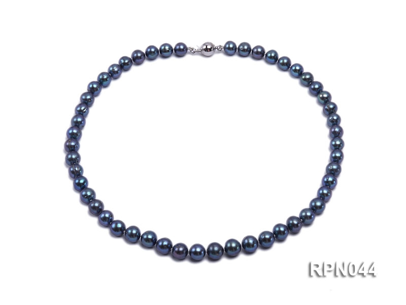 8-9mm Cultured Black Pearl Necklace with Sterling Silver Clasp