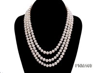 3 strand 7-8mm white round freshwater pearl necklace with sterling sliver clasp