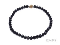 Fashionable Single-strand 8-9mm Black Round Cultured Freshwater Pearl Necklace