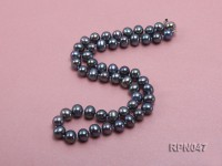 Fashionable Single-strand 8.5-9mm Black Round Freshwater Pearl Necklace-Sterling Silver Clasp
