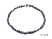 Trendy Single-strand 8-9mm Black Round Cultured Freshwater Pearl Necklace with Zirconia Clasp
