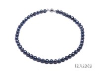 Gorgeous Single-strand 8-9mm Peacock Round Freshwater Pearl Necklace-Sterling Silver Clasp