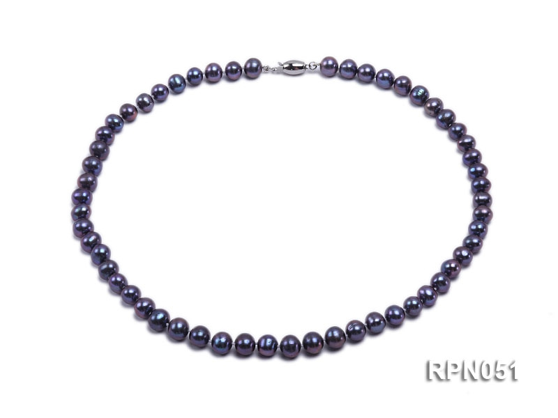 Fashionable Single-strand 7-7.5mm Black Round Freshwater Pearl Necklace