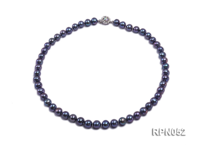 Fashionable Single-strand 8-9mm Black Round Freshwater Pearl Necklace