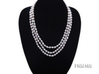 3 strand white oval freshwater pearl necklace with sterling slvier clasp
