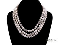 3 strand white 8-9mm round freshwater pearl necklace