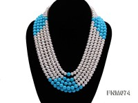 5 strand white freshwater pearl and bule round turquoise necklace