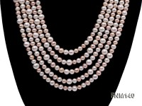 5 strand white and pink freshwater pearl necklace