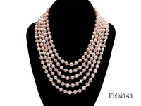 5 strand white and pink round freshwater pearl necklace