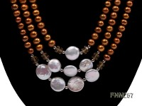 3 strand coffee and white freshwater pearl necklace with sterling sliver clasp