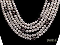 5 strand white and black freshwater pearl necklace