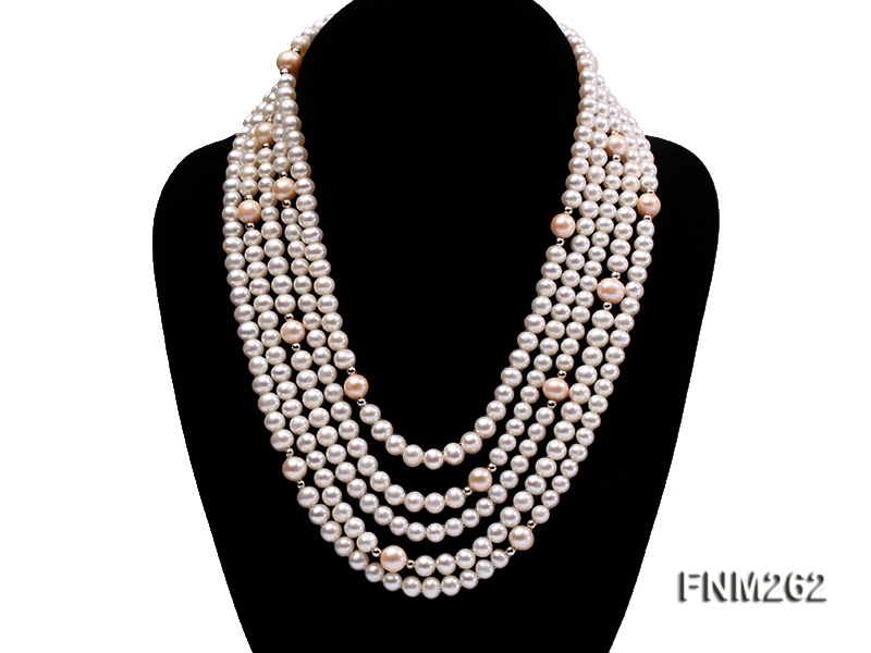 Five-Strand White and Pink Freshwater Pearl Necklace with Sterling Sliver Clasp