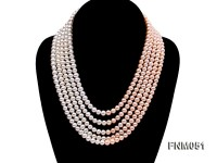 5 strand white and pink freshwater pearl necklace with sterling sliver clasp