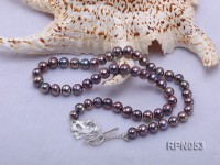 7.5-8.5mm Black Round Freshwater Pearl Necklace with Sterling Silver Leaf-shape Clasp