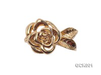 15x25mm Single-strand Flower-shaped Gilded Magnetic Clasp