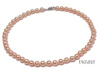 Classic 8-8.5mm AAA Golden-pink Cultured Freshwater Pearl Necklace