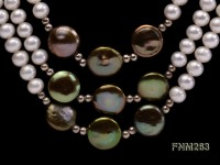 3 strand white and green freshwater pearl necklace