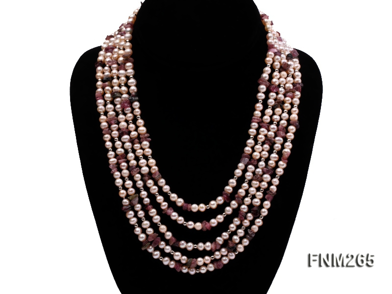 Five-Strand Pink Freshwater Pearl and Tourmaline Necklace with Sterling Sliver Clasp