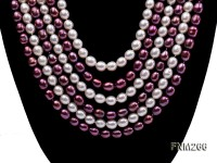 Six-Strand White and Purple Oval Freshwater Pearl Necklace