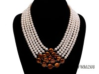 5 strand white and coffee freshwater pearl necklace