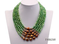 5 strand green and coffee freshwater pearl necklace