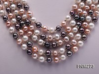 5 strand white,pink and black freshwater pearl necklace