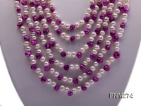 6 strand white and stefanel freshwater pearl neckace