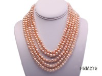 5 strand 7-8mm pink freshwater pearl necklace with sterling sliver clasp