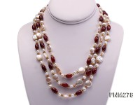 3 strand freshwater pearl and agate necklace