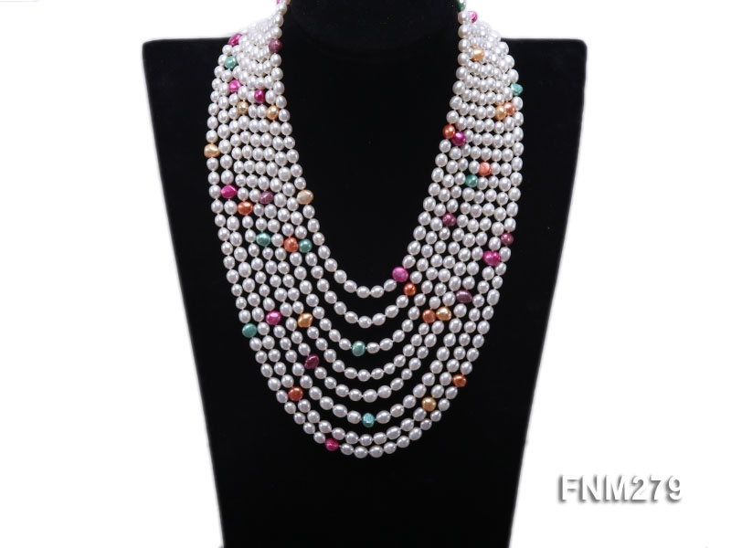 8 strand colorful freshwater pearl necklace with sterling sliver clasp