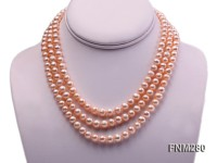 3 strand 6.5-7.5mm pink round freshwater pearl necklace with sterling sliver clasp