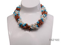 Four-strand 5-6mm White and Coffee Freshwater Pearl and Turquoise Beads Necklace