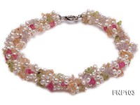 Four-Strand 6-7mm White Freshwater Pearl Necklace with Multi-color Crystal Chips