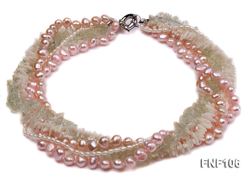 Five-strand Freshwater Pearl, Green Crystal Chips and White Coral Sticks Necklace