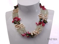 Three-strand Pink and Dark-green Freshwater Pearl, Pink Biwa Pearl and Crystal Chips Necklace