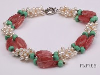 Three-strand 6-7mm White Freshwater Pearl Necklace with Turquoise Beads and Pink Crystal Beads
