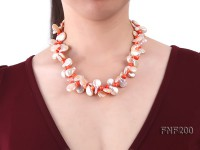 Two-strand 12-13mm Pink Freshwater Pearl Necklace with Orange Coral Beads