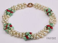 Four-strand 7-8mm White Freshwater Pearl Necklace with Turquoise Chips, Coral Beads and Golden Beads
