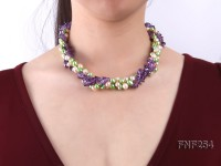 Three-strand Pink and Green Freshwater Pearl and Purple Crystal Chips Necklace