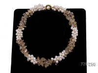Three-strand 6-7mm White Freshwater Pearl and Yellow Crystal Chips Necklace