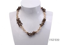Two-strand 4-5mm White Freshwater Pearl Necklace with Coffee Crystal Chips and Golden Beads