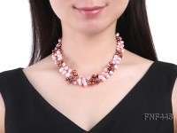 Three-strand Pink, Coffee and Purple Freshwater Pearl Necklace