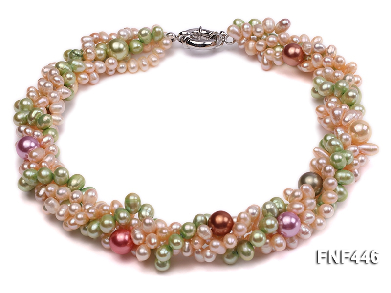 Four-strand 5-6mm Pink and Green Freshwater Pearl and 8-10mm Multi-color Shell Pearl Necklace