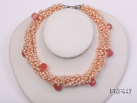 Six-strand 5-6mm Pink Freshwater Pearl Necklace with Pink Drop-shaped Crystal Beads