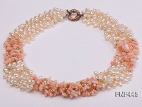 Five-strand 5-6mm White Freshwater Pearl and Pink Coral Chips Necklace