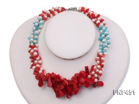 Three-strand 6-7mm White Freshwater Pearl Necklace with Turquoise Chips and Red Coral