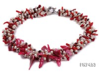 Three-strand White Freshwater Pearl, Pink Baroque Pearl, Red Coral Sticks and Garnet Beads Necklace