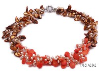 Three-strand Pink Freshwater Pearl, Coffee Baroque Pearl and Pink Seed-shaped Coral Necklace
