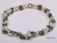 Three-strand 6-7mm White Side-drilled Freshwater Pearl and Aventurine Chips Necklace